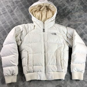 The North Face white down hooded puffer jacket M